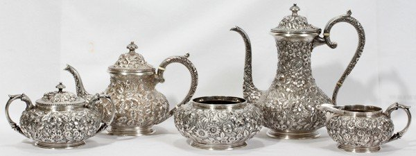 041011: JACOBI & JENKINS STERLING TEA & COFFEE SET,