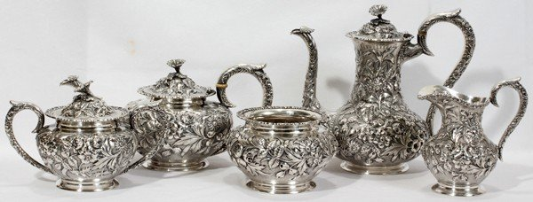 041012: AMERICAN STERLING TEA & COFFEE SET BY R & S,