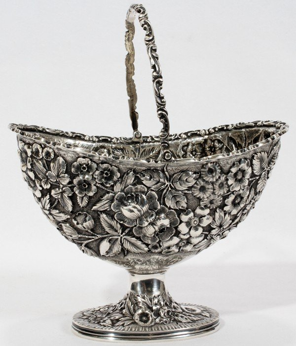 "041022: JACOBI & JENKINS STERLING BASKET H 4 1/2"", L 6"""