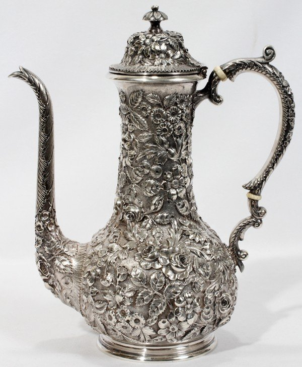 041023: JACOBI & JENKINS STERLING COFFEE POT, H 9 1/2""