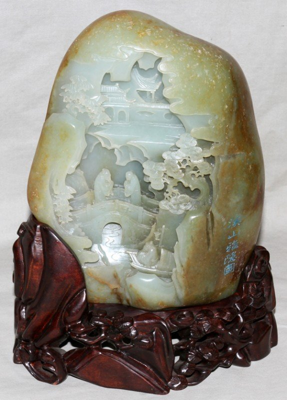 "041066: CHINESE CARVED JADE SCENE, H 7 1/2"", L 6"""