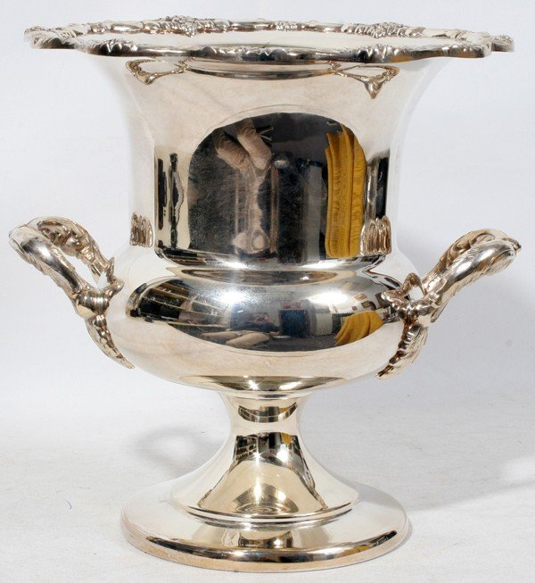 """041512: TOWLE SILVER PLATE CHAMPAGNE BUCKET, H 12"""","""