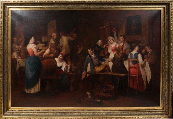 042003: VIENNESE WEDDING SCENE, OIL ON CANVAS, C. 1860