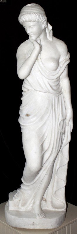 "042012: ITALIAN WHITE MARBLE SCULPTURE, H 44"", W 14"","