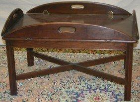 """MAHOGANY BUTLER'S TABLE, H 17"""", L 33"""", D 21"""""""