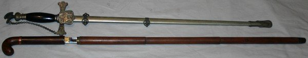 050226: FRATERNAL DRESS SWORD & SWORD CANE, TWO