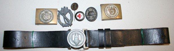 050228: GERMAN WW2 BELT, BUCKLES & PINS, SEVEN