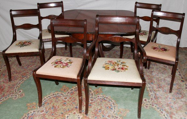 050460 DUNCAN PHYFE STYLE MAHOGANY TABLE CHAIRS 6 Lot 050460