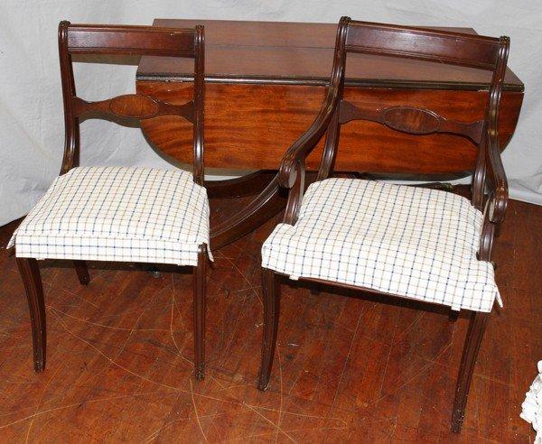 050460: DUNCAN PHYFE STYLE MAHOGANY TABLE & CHAIRS (6) - 5