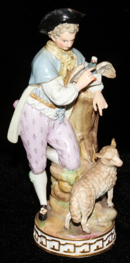 051005: MEISSEN PORCELAIN FIGURE, YOUNG MAN WITH LETTER