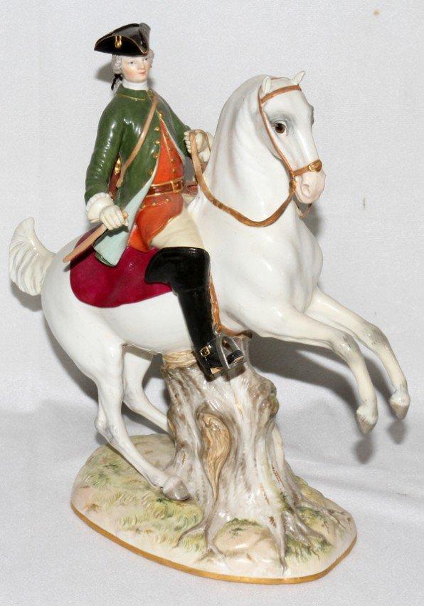 051016: MEISSEN PORCELAIN FIGURE, HUNTSMAN ON HORSEBACK