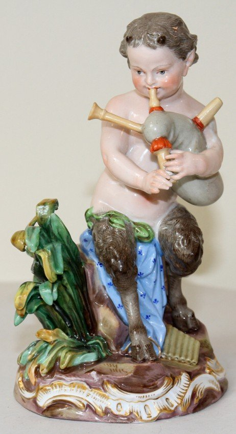 051018: MEISSEN PORCELAIN FIGURE, SATYR WITH BAGPIPE,