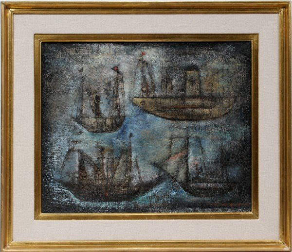 "052018: ZAO WOU-KI, OIL ON CANVAS, 1953, 15"" X 18"","