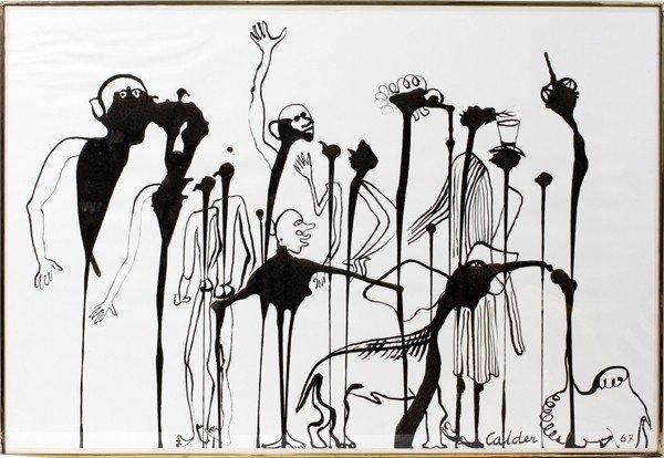 """052019: ALEXANDER CALDER, GOUACHE, 1967, 43"""" X 29 3/8"""""""