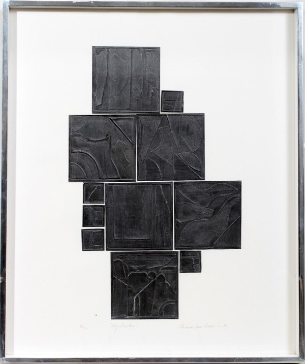 052023: LOUISE NEVELSON, LEAD INTAGLIO, COLLAGE, 1971,