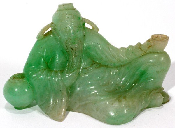 052341: CHINESE GREEN JADE FIGURE OF RECLINING SAGE,