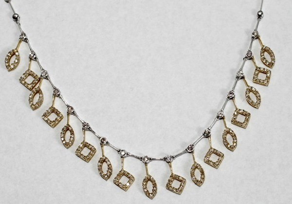 070005: DIAMOND & TWO TONE GOLD NECKLACE