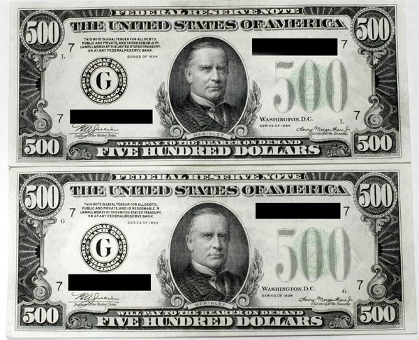 070013: FEDERAL RESERVE NOTES, $500, SERIES 1934 A