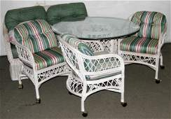 070015: HENRY LINK WICKER LOVE SEATS, TABLES & CHAIRS