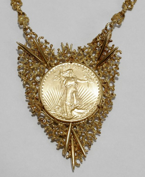 070017: ST GAUDENS GOLD COIN PENDANT CHAIN