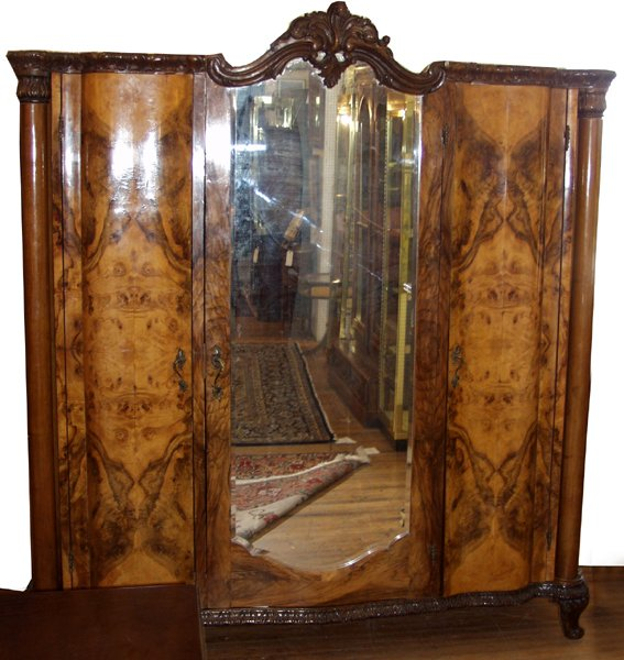 070020: ITALIAN EMPIRE CARVED OLIVEWOOD ARMOIRE