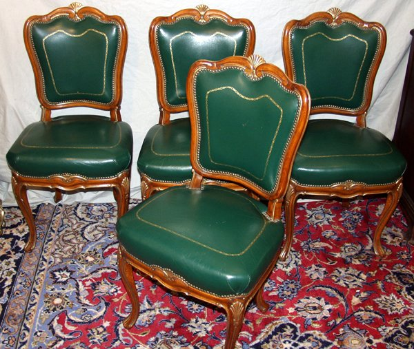 070021: VICTORIAN GILT WOOD & LEATHER SIDE CHAIRS