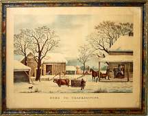 070365 CURRIER  IVES LITHOGRAPH THANKSGIVING