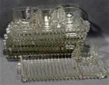 070437: HAZEL ATLAS, ORCHARD PATTERN GLASS SNACK SETS