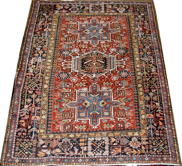 "071003: HAMADAN PERSIAN ORIENTAL CARPET, 4' 8"" X 3' 6"""