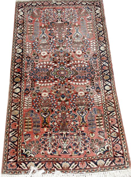 "071004: SAROUK PERSIAN ORIENTAL CARPET, 4' 8"" X 2' 5"""
