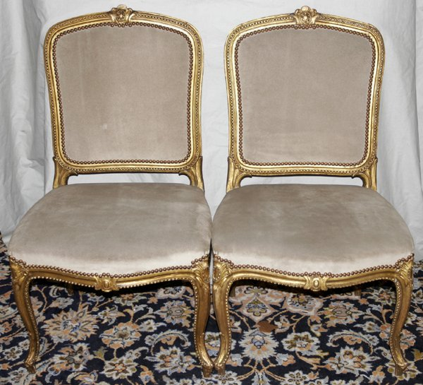 071008: LOUIS XV STYLE, SET OF FOUR SIDE CHAIRS