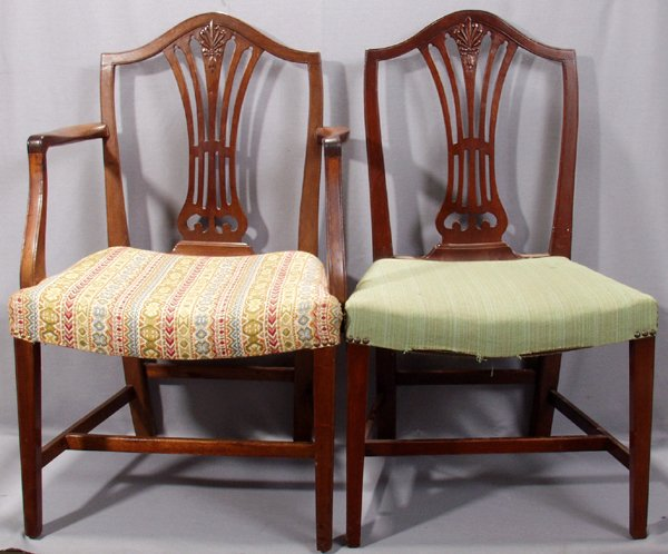 071009: HEPPLEWHITE MAHOGANY DINING CHAIRS, EIGHT