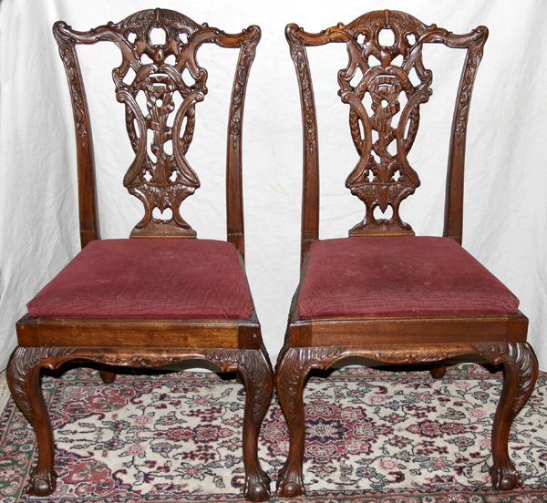 071022: CHIPPENDALE STYLE MAHOGANY SIDE CHAIRS