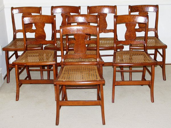 071025: AMERICAN MAPLE & CANE-SEAT SIDE CHAIRS