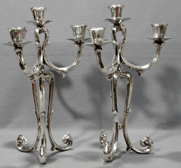071084: MEXICAN STERLING SILVER & PLATE CANDELABRA