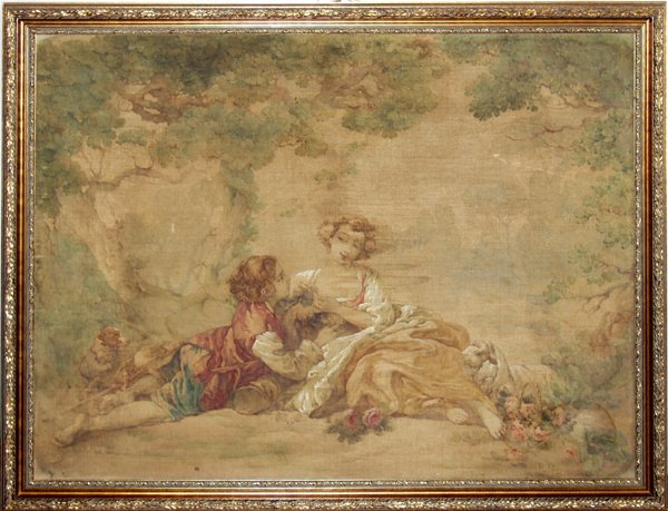 072002: FRENCH PAINTING ON FABRIC, WOMAN & CHILD