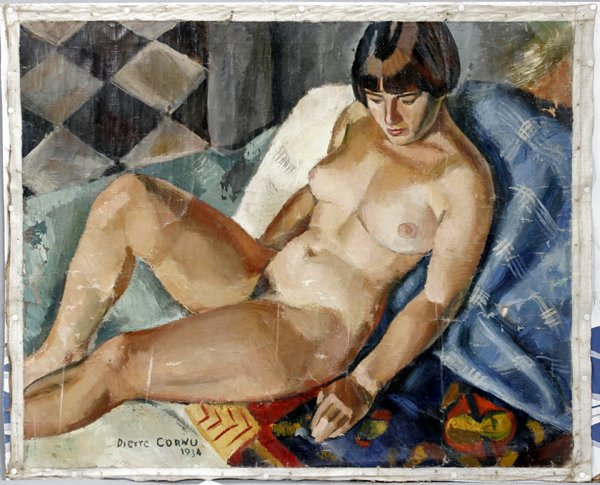 072023: PIERRE CORNU, OIL ON CANVAS, NUDE