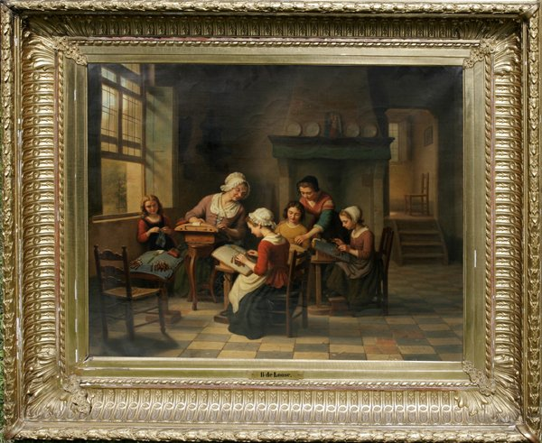 072024: BASILE DE LOOSE, OIL ON CANVAS, INTERIOR SCENE