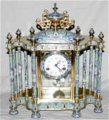072135: CLOISONNÉ & BRASS MANTEL CLOCK