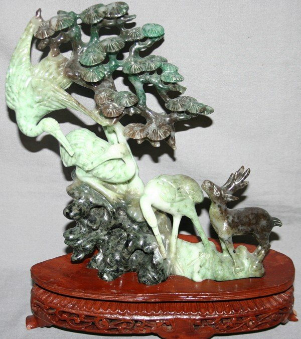 060015: CHINESE CARVED SERPENTINE SCULPTURE, H 7""