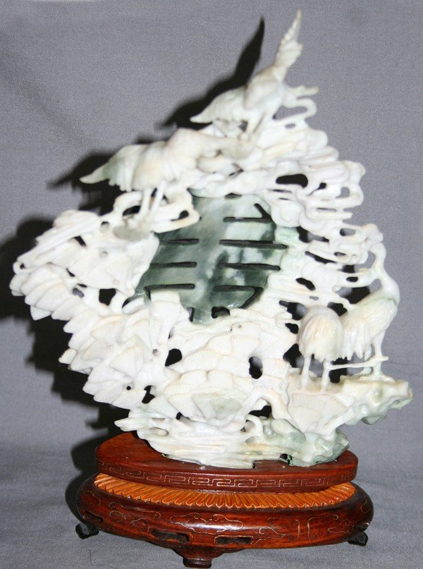 060022: CHINESE CARVED WHITE SERPENTINE SCULPTURE, H 8""