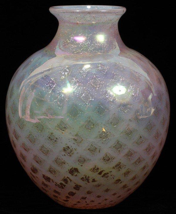 "061005: STEUBEN SILVERINA GLASS VASE, H 9 1/2"","