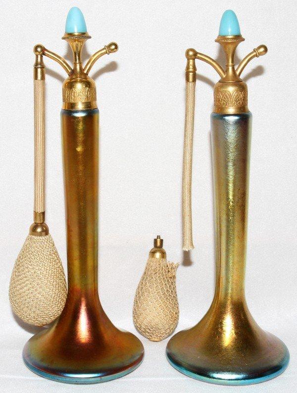 061008: STEUBEN GOLD AURENE GLASS PERFUME ATOMIZERS,