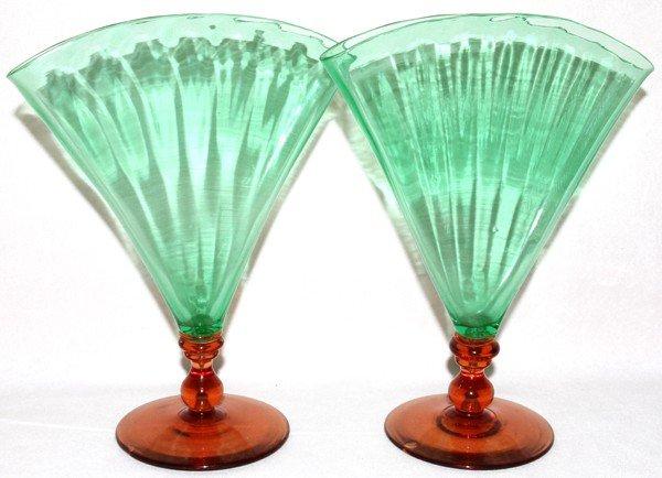 061014: STEUBEN POMONA GREEN & ROSA GLASS VASES, PAIR