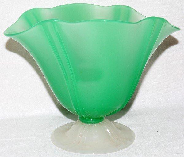 "061015: STEUBEN JADE & ALABASTER GLASS BOWL, H 6"","