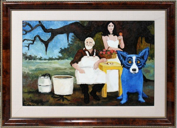 """062007: GEORGE RODRIGUE, OIL ON CANVAS, 1991, 24"""" X 36"""""""
