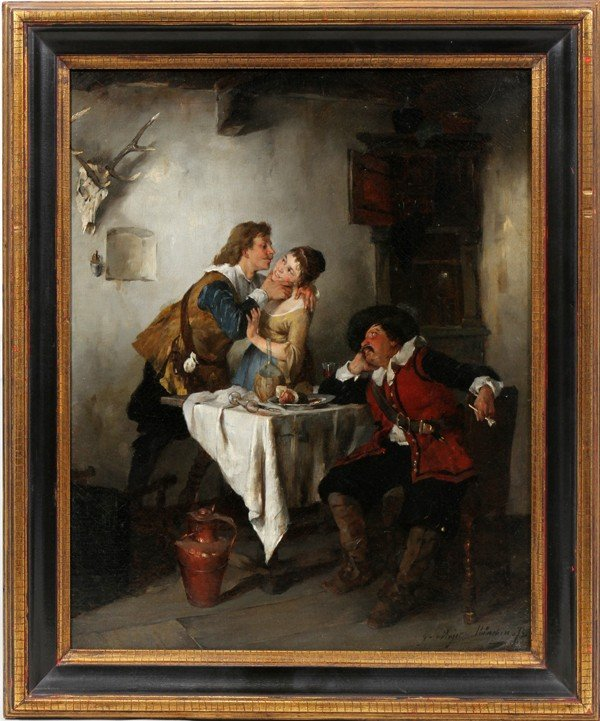 """062018: GUSTAV MAJER OIL ON CANVAS, DATED 1875, 20"""" X"""