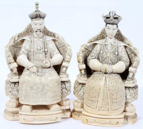 062248: CHINESE CARVED IVORY EMPEROR AND EMPRESS, PAIR,