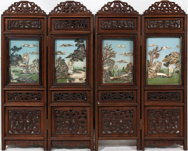 062279: CHINESE CARVED & PAINTED IVORY & PIERCED SCREEN