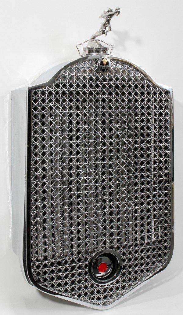 070009: PACKARD SUPER 8 CHROME GRILL & MASCOT, C. 1929